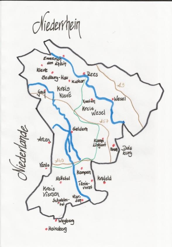 Karte Niederrhein.Ak Gästeführer Niederrhein